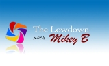 Lowdown_with_Mikey_B_in_cursive_in_rust_color